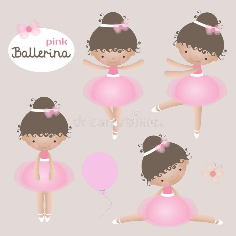 Vektoruppsättning med gulliga små ballerina Små ballerina för vektor i rosa ballerinakjolklänningar vektor illustrationer
