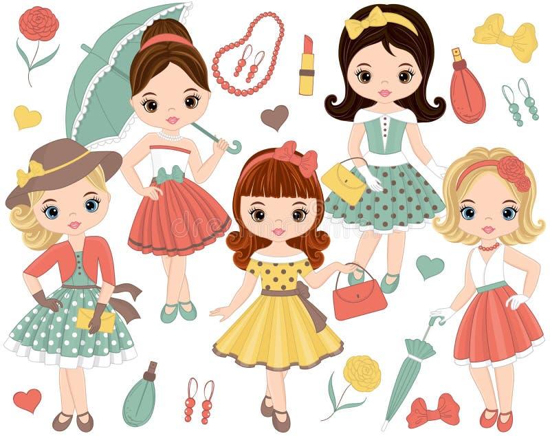 Vektoruppsättning med gulliga små flickor i retro stil- och modetillbehör stock illustrationer