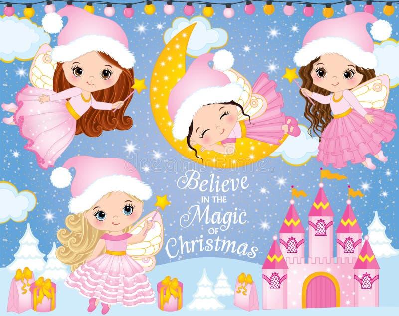 Vektoruppsättning med gulliga små julfeer, slotten och vinterbeståndsdelar royaltyfri illustrationer