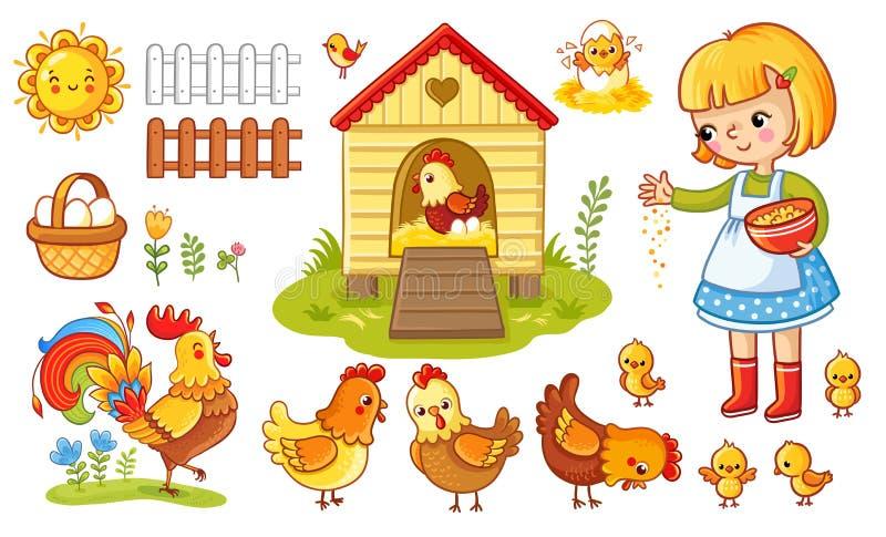 Vektoruppsättning med höna och flickan royaltyfri illustrationer