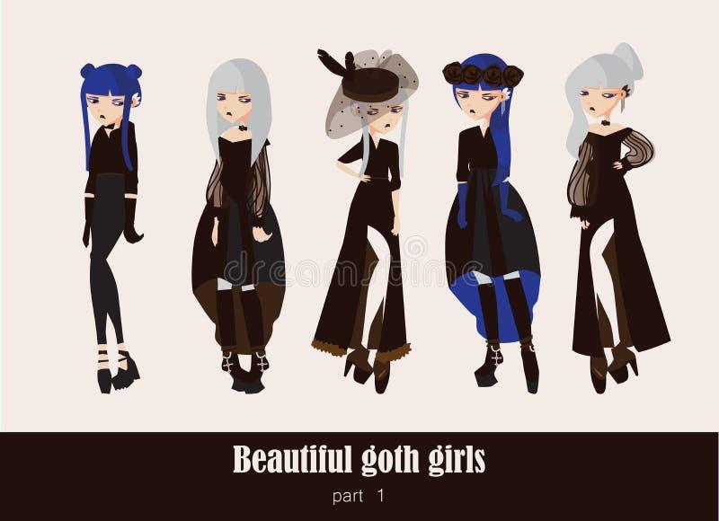 Vektoruppsättning med isolerat på gotiska flickor för bakgrund Goth kläder i mörka färger, med olik tillbehör, olik frisyr royaltyfri illustrationer