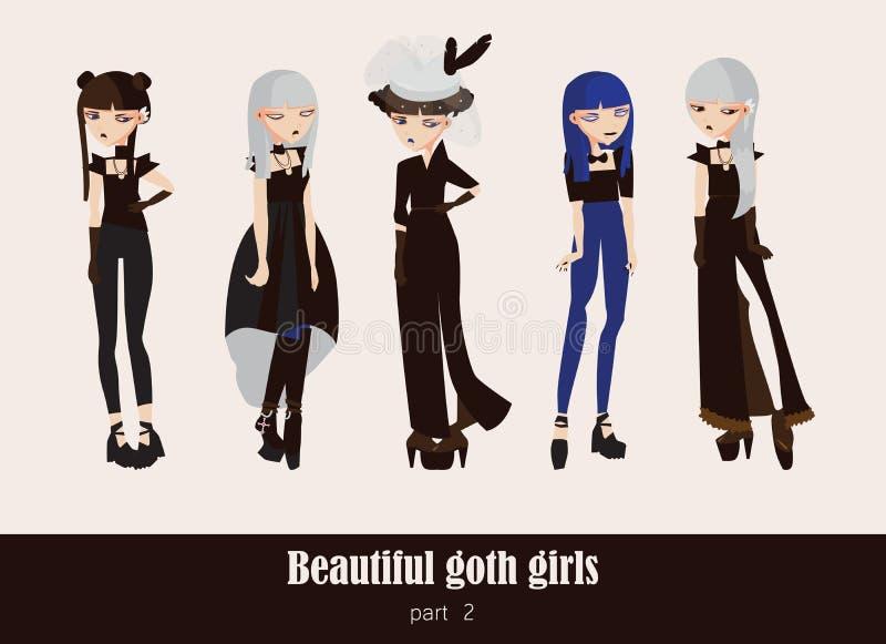 Vektoruppsättning med isolerat på gotiska flickor för bakgrund Goth kläder i mörka färger, med olik tillbehör, olik frisyr stock illustrationer
