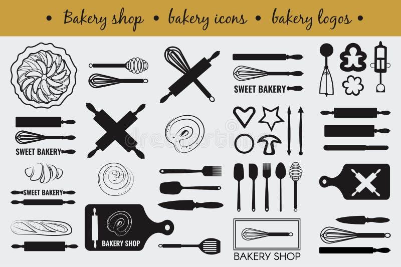 Vektoruppsättning med matlagningbeståndsdelar arkivbilder