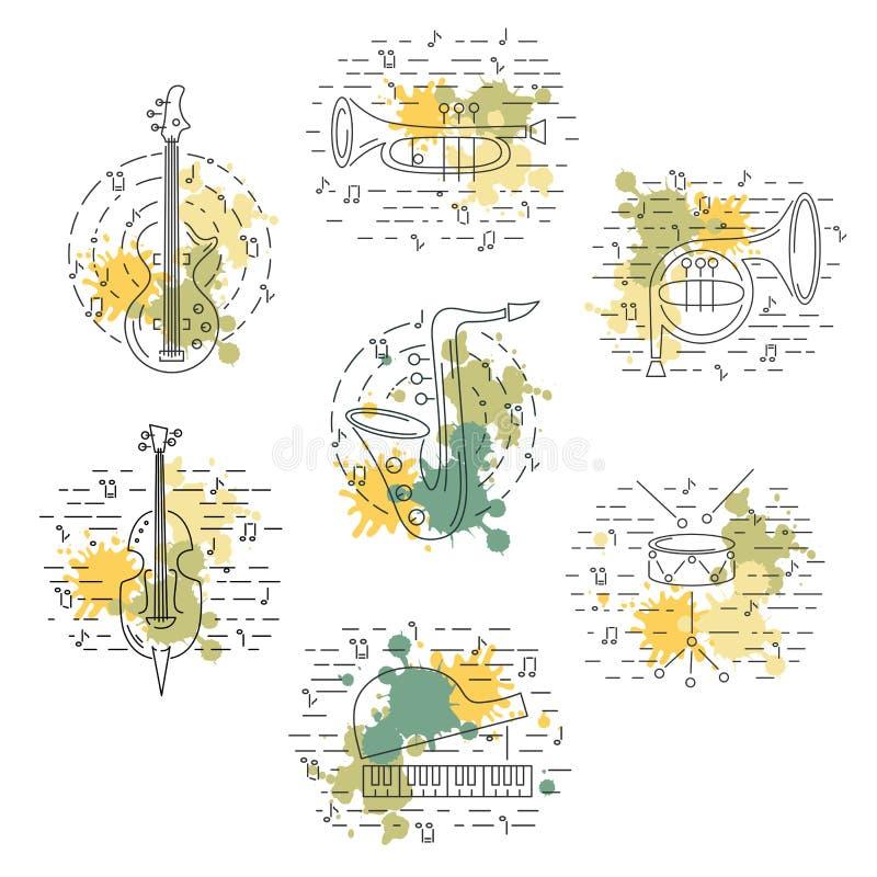 Vektoruppsättning med musikinstrumentet royaltyfri illustrationer