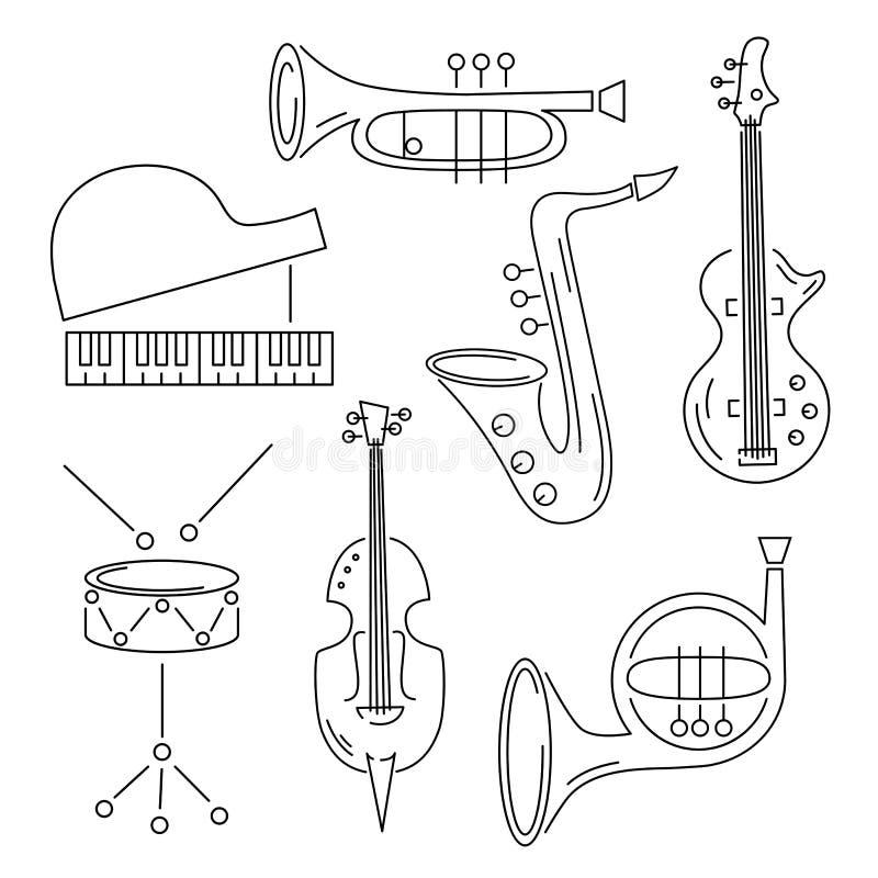 Vektoruppsättning med musikinstrumentet stock illustrationer