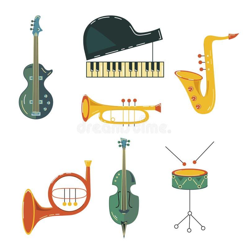 Vektoruppsättning med musikinstrumentet vektor illustrationer