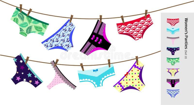 Vektoruppsättning med olika typer Kvinnor i paneler Insamling av bomull och lace lingerie vektor illustrationer