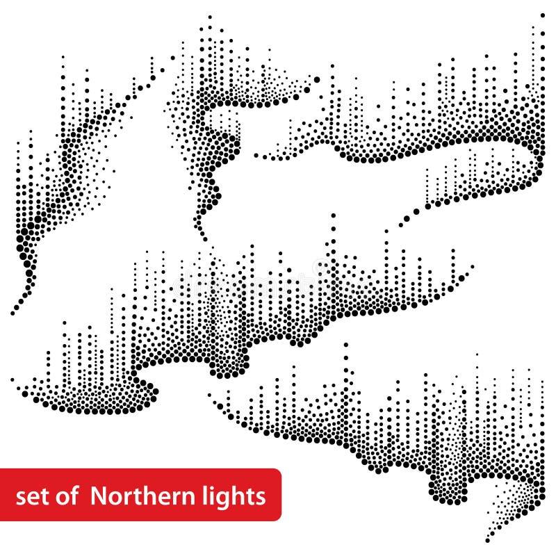 Vektoruppsättning med prickiga virvlar av nordligt eller polart ljus i svart på vit bakgrund Norrskenljus i prickar royaltyfri illustrationer