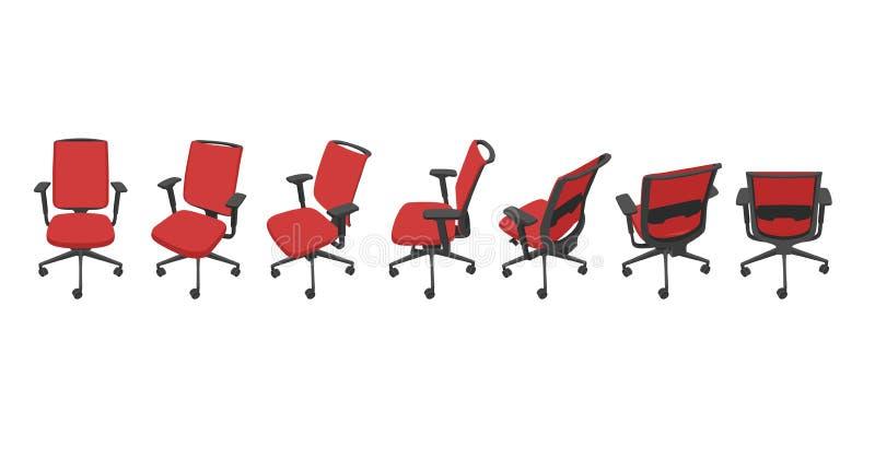 Vektoruppsättning med röda isolerade kontorsstolar i olika sikter vektor illustrationer