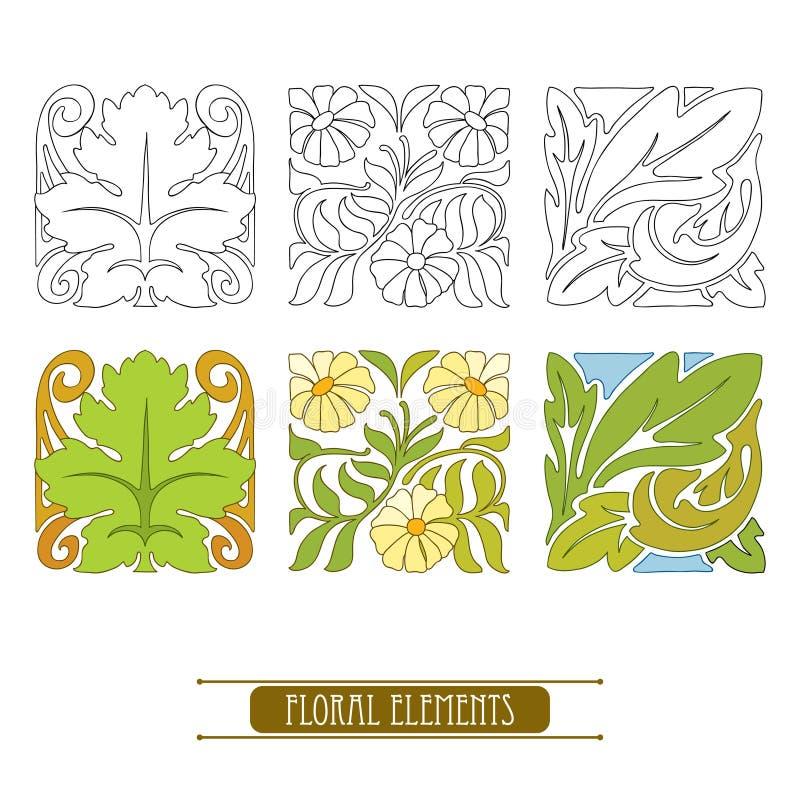 Vektoruppsättning med stiliserade blom- beståndsdelar i Art Nouveau eller modern stil i svart och i färg som isoleras på vit vektor illustrationer