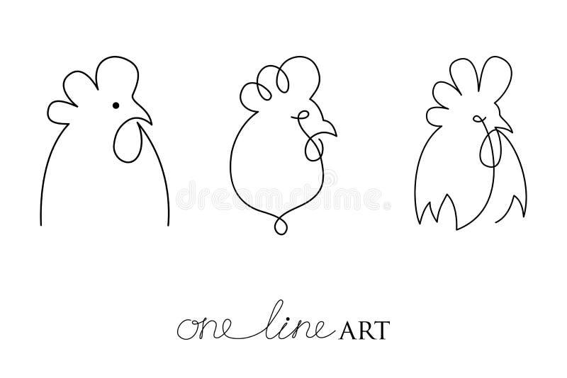 Vektoruppsättning med tupp- eller hanehuvudprofil i svart som isoleras på vit bakgrund Kontur av ungtuppen i minimalismstil royaltyfri illustrationer