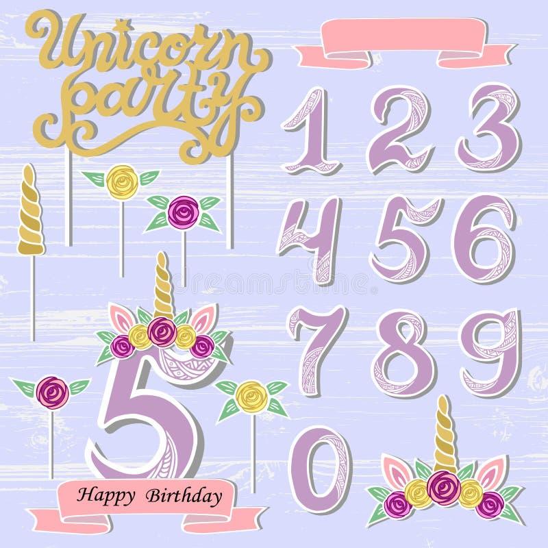 Vektoruppsättning med Unicorn Tiara, nummer, horn, blomma stock illustrationer