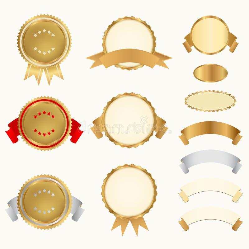 Vektoruppsättning: Utmärkelsear stock illustrationer