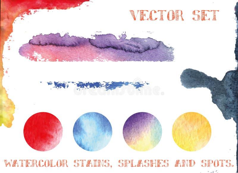 Vektoruppsättning: vattenfärgfläckar, färgstänk och fläckar stock illustrationer