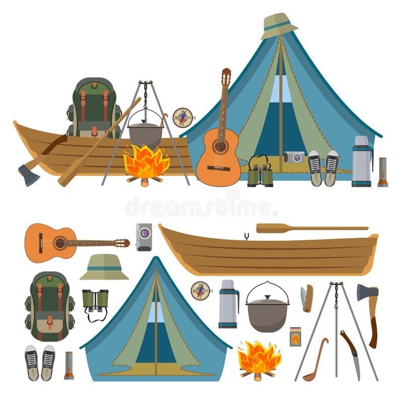 Vektoruppsättningen av att campa anmärker och hjälpmedel som isoleras på vit bakgrund royaltyfri illustrationer