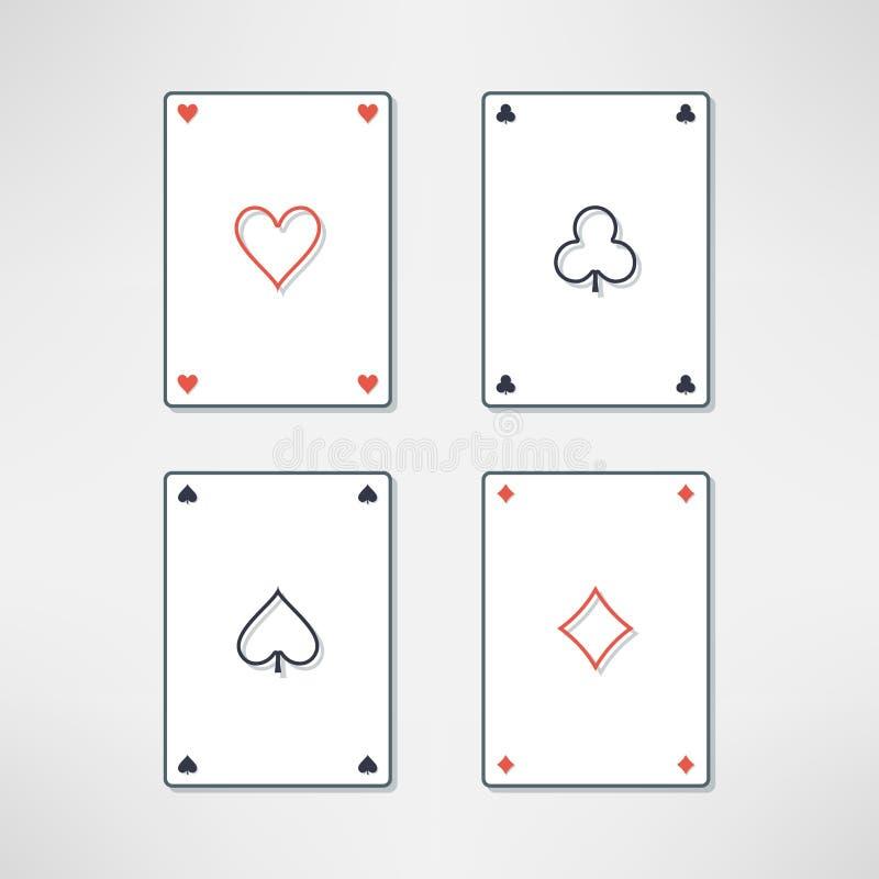 Vektoruppsättningen av att spela kort gör ett ess på symboler stock illustrationer