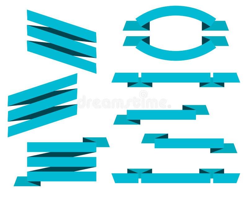 Vektoruppsättningen av blått sänker bandbaner som isoleras på vit backgr vektor illustrationer