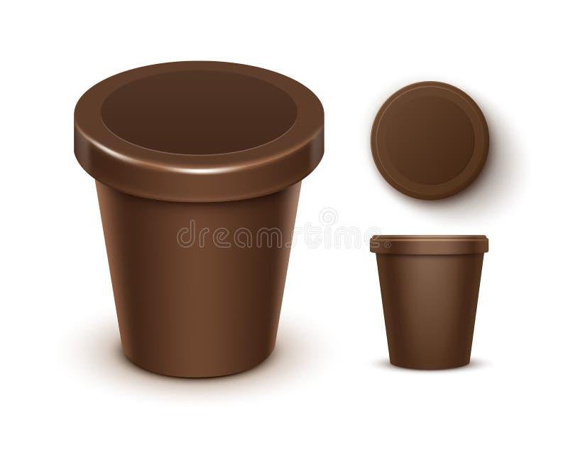 Vektoruppsättningen av brun matplast- badar för chokladefterrätten, yoghurten, glass med etiketten för åtlöje för packedesign upp stock illustrationer
