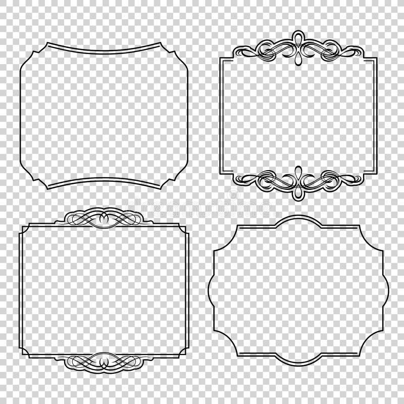 Vektoruppsättningen av calligraphic designbeståndsdelar söker den högvärdig och tillfredsställelsegarantietiketten för garnering, stock illustrationer