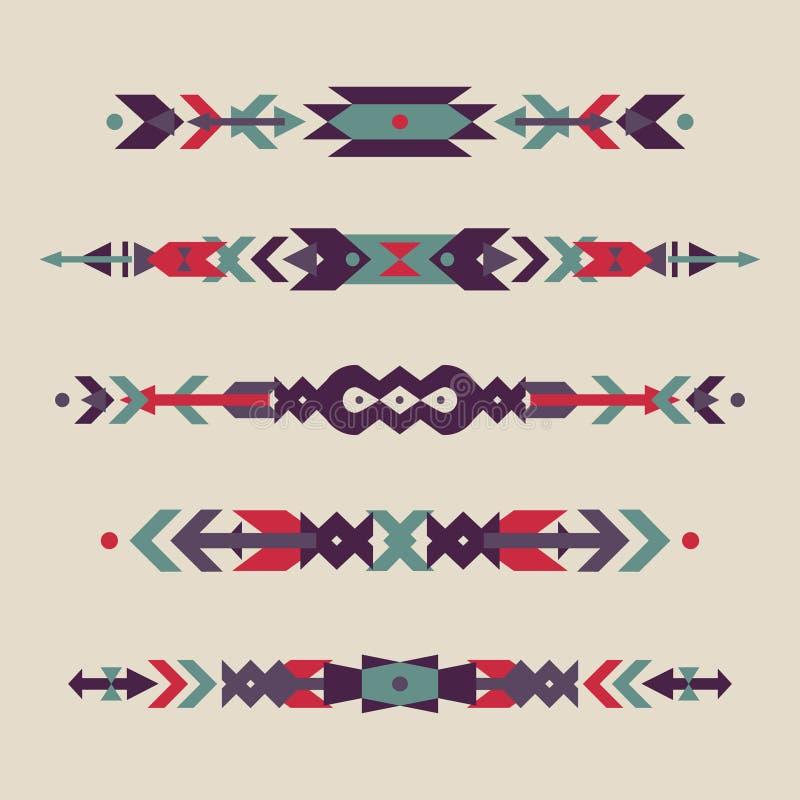 Vektoruppsättningen av dekorativ person som tillhör en etnisk minoritet gränsar med amerikanska indiska motiv stock illustrationer