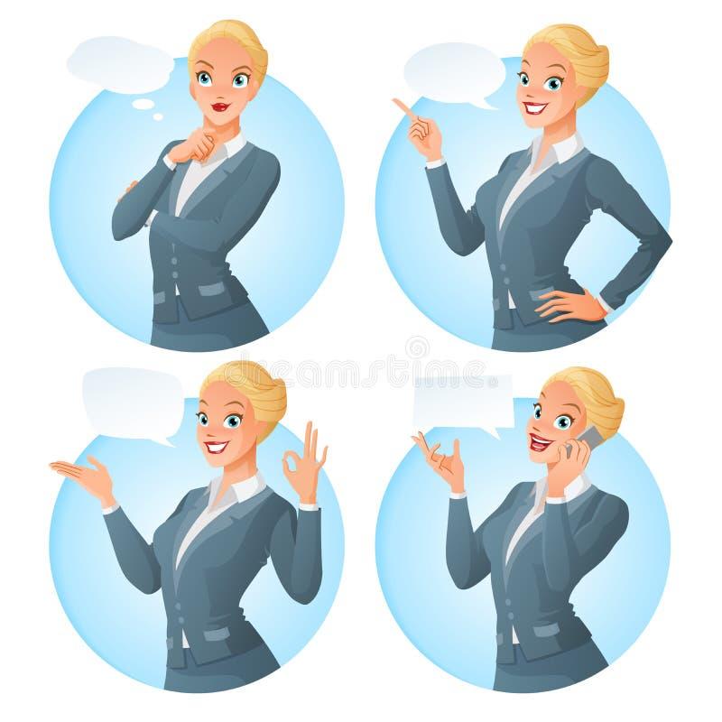 Vektoruppsättningen av den formella klädda kvinnan för tecknad filmaffären i olikt poserar med olika anförandebubblor stock illustrationer