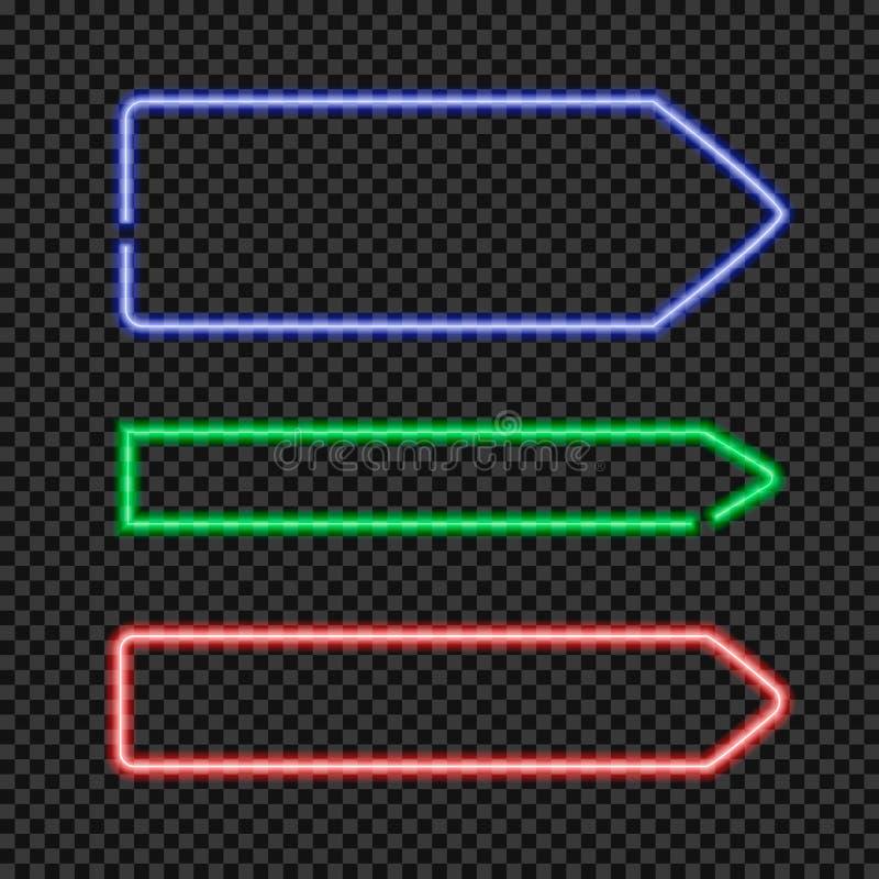 Vektoruppsättningen av den glänsande neonpilen formade ramar, tomma gränser på genomskinlig bakgrund royaltyfri illustrationer