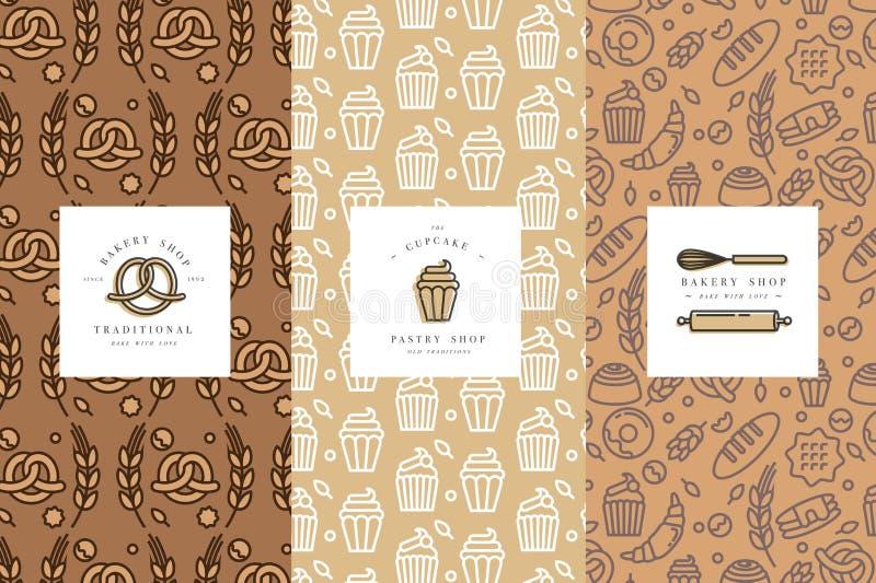 Vektoruppsättningen av designmallar och beståndsdelar för bagerit som förpackar i moderiktigt, skissar linjär stil stock illustrationer