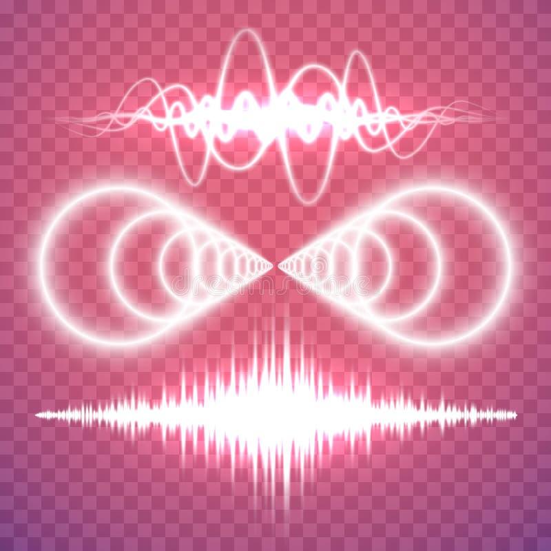 Vektoruppsättningen av det isolerade genomskinliga ljudet eller radiovågor planlägger e vektor illustrationer