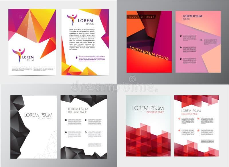 Vektoruppsättningen av dokumentet, broschyren för bokstavs- eller logostilräkning och brevhuvudmallen planlägger modellen för aff stock illustrationer