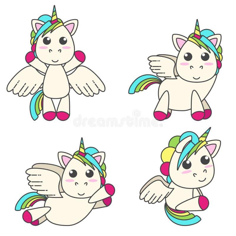 Vektoruppsättningen av enhörningar med vingar i olika fyra poserar stock illustrationer