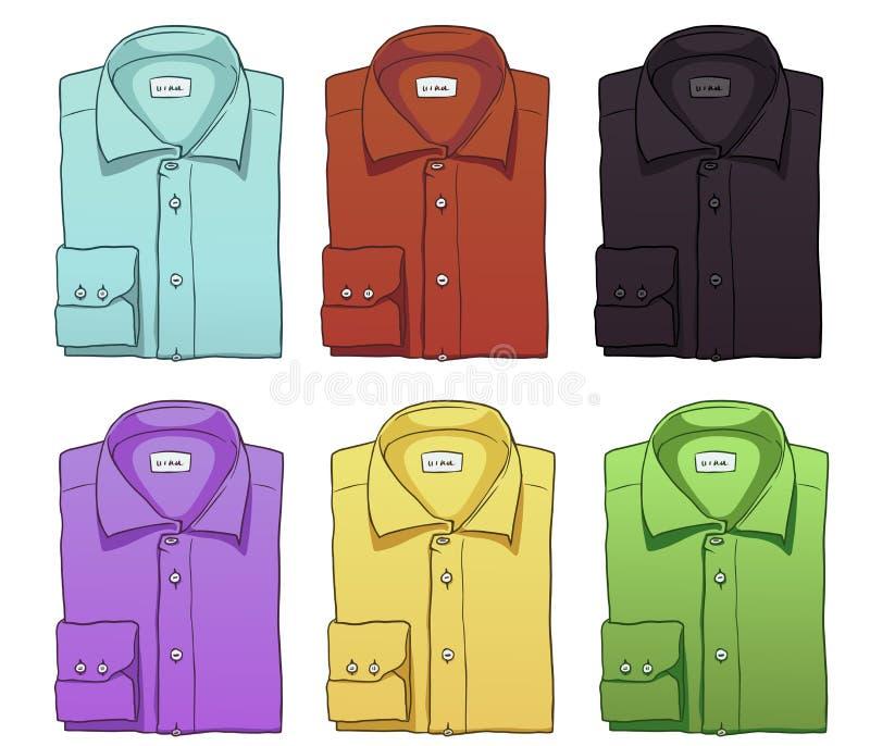 Vektoruppsättningen av färg vek långa muffskjortor royaltyfri illustrationer