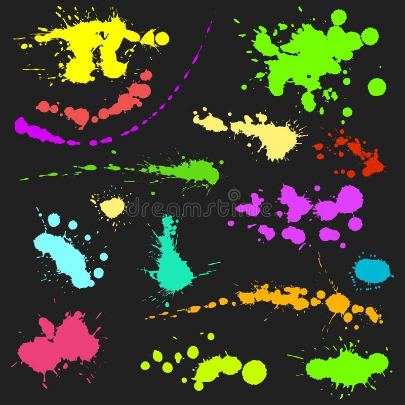 Vektoruppsättningen av färgpulverfärgstänkfläckar plaskar beståndsdelen för samlingsgrungedesignen och för smutsig smutsig flytan vektor illustrationer