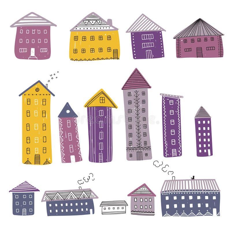 Vektoruppsättningen av färgrika byggnader dekorerade med prydnader royaltyfri illustrationer