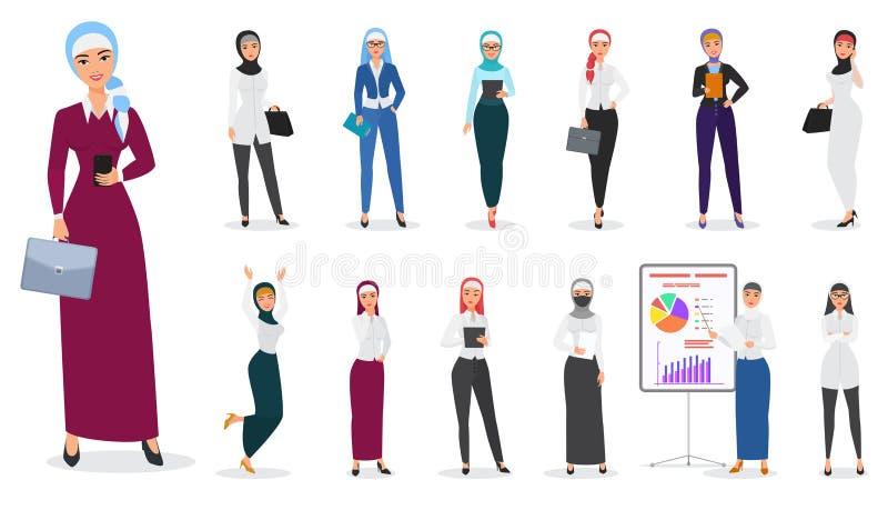 Vektoruppsättningen av för affärskvinnan för muslim det arabiska teckenet poserar royaltyfri illustrationer