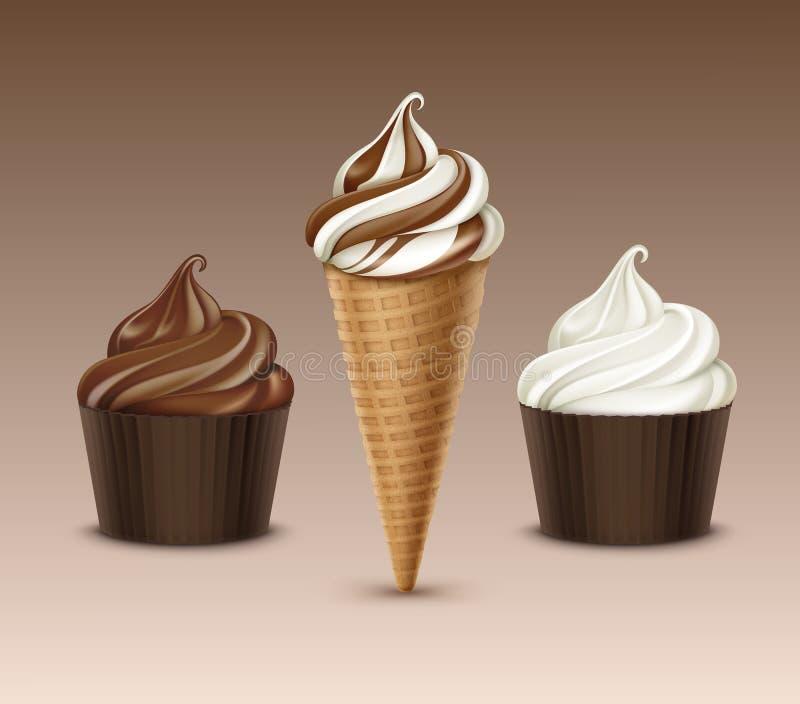 Vektoruppsättningen av för serveglass för brun choklad den vita klassiska mjuka kotten för dillanden och den bruna lådan kuper tä stock illustrationer