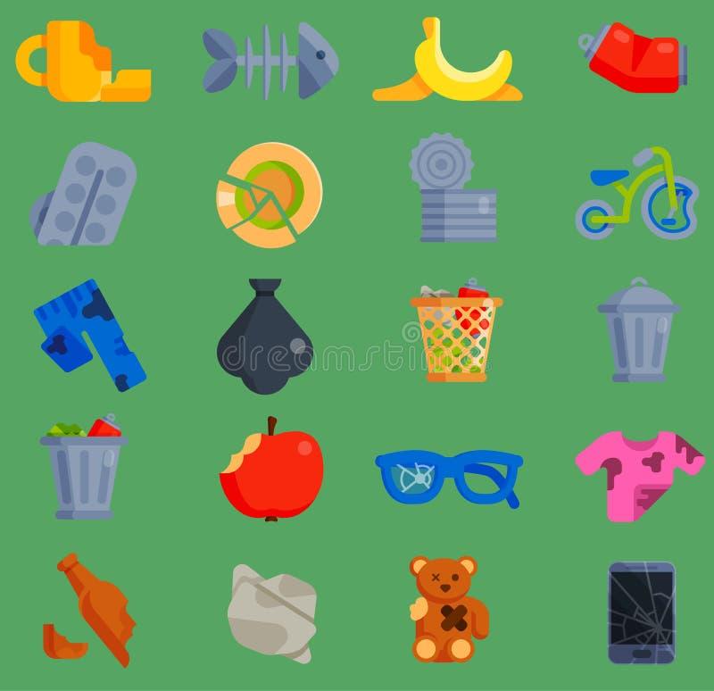 Vektoruppsättningen av förlorade avskrädesymboler för återanvändning av behållaren återanvänder avfalls för hushållet för avskräd stock illustrationer