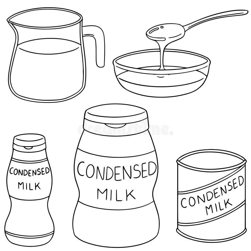 Vektoruppsättningen av förtätat mjölkar royaltyfri illustrationer