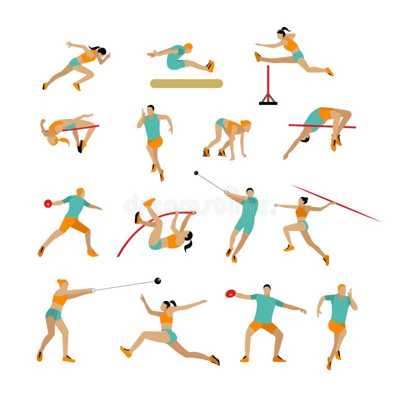 Vektoruppsättningen av folk i sport poserar Begrepp för idrotts- strid för friidrott Plana symboler för idrottsman på vit vektor illustrationer