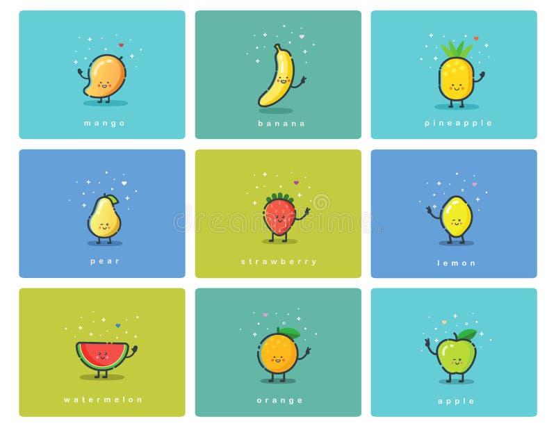 Vektoruppsättningen av fruktsymboler, gulliga tecknad filmmattecken, behandla som ett barn målillustrationen vektor illustrationer