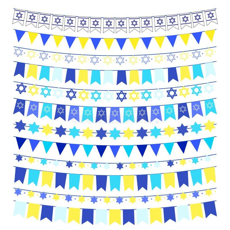 Vektoruppsättningen av girlander, bunting, sjunker Planlägg beståndsdelar, garneringar för självständighetsdagen och en judisk ho royaltyfri illustrationer