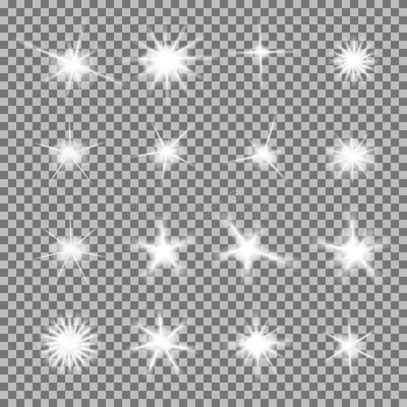 Vektoruppsättningen av glödande ljusa bristningar med mousserar arkivfoton