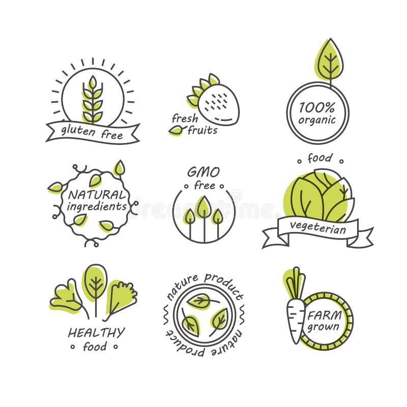 Vektoruppsättningen av gröna och organiska produkter märker och förser med märke royaltyfri illustrationer