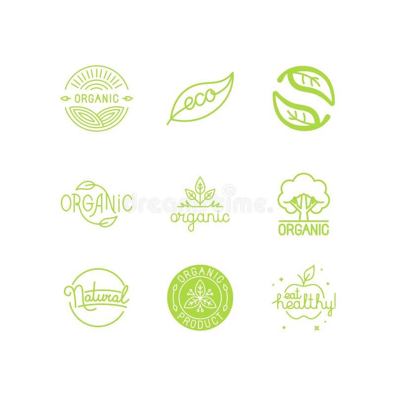 Vektoruppsättningen av gröna och organiska produkter märker och förser med märke stock illustrationer