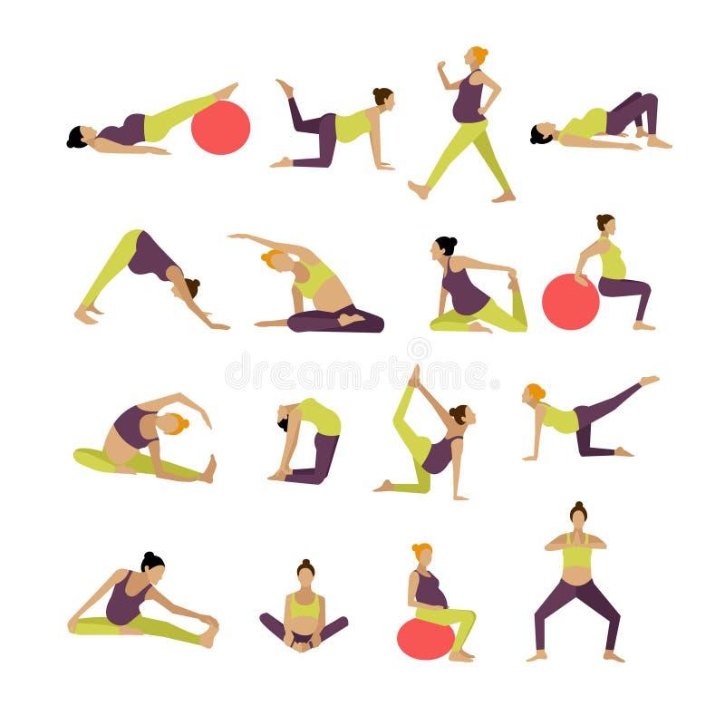 Vektoruppsättningen av gravida kvinnor gör övning och yoga Designbeståndsdelar, symboler på vit bakgrund stock illustrationer