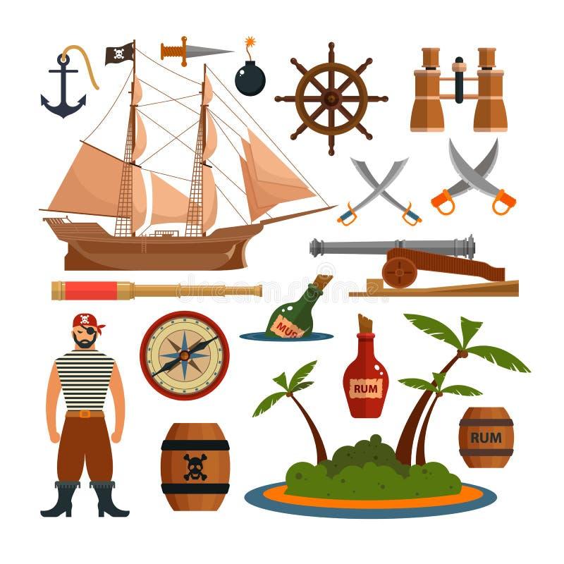 Vektoruppsättningen av havet piratkopierar objekt, symboler och designbeståndsdelar i plan stil Piratkopiera skeppet, vapen, ön vektor illustrationer