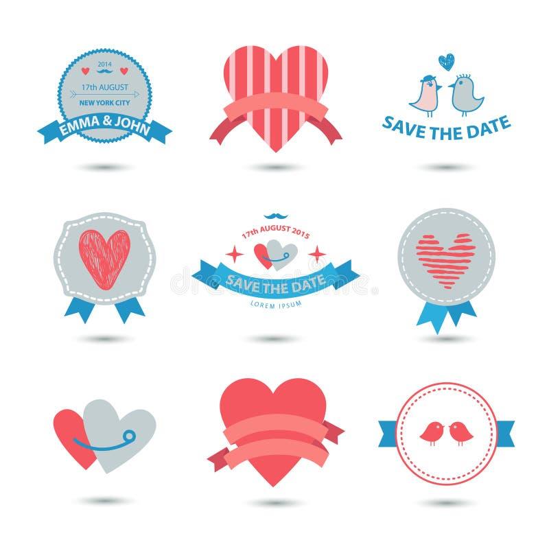 Vektoruppsättningen av hjärtabaner, band, förälskelse förser med märke, symboler Tappningvalentinuppsättning, romantisk samling vektor illustrationer