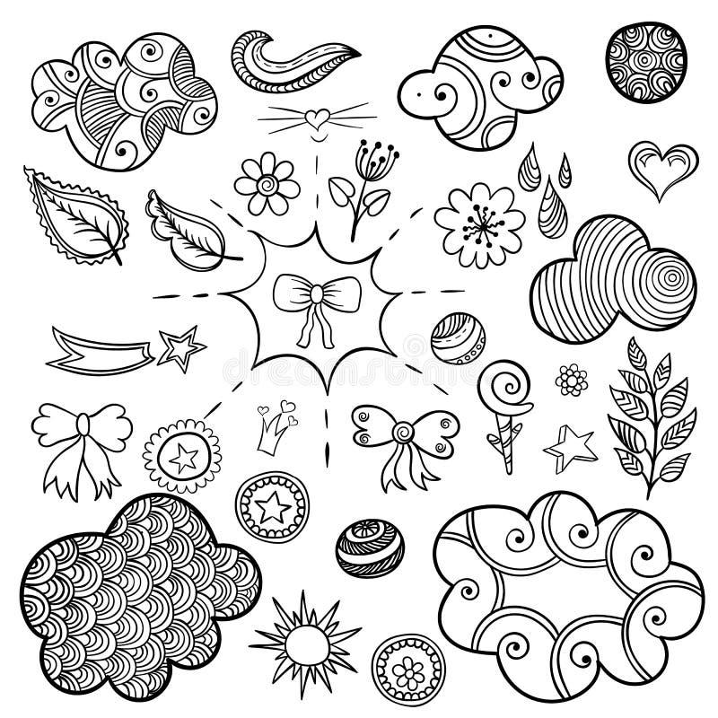 Vektoruppsättningen av innegrej lappar beståndsdelar som hjärta, blomman, post, molnet, bladet, sol stock illustrationer