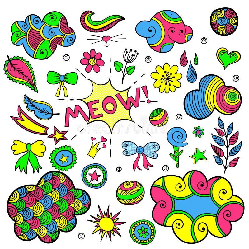 Vektoruppsättningen av innegrej lappar beståndsdelar som hjärta, blomman, post, molnet, bladet, sol vektor illustrationer