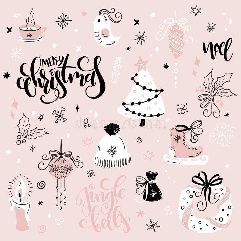 Vektoruppsättningen av jul räcker utdragna dekorativa beståndsdelar och tecken - gåva-, socka-, gran-träd och handbokstäver vektor illustrationer