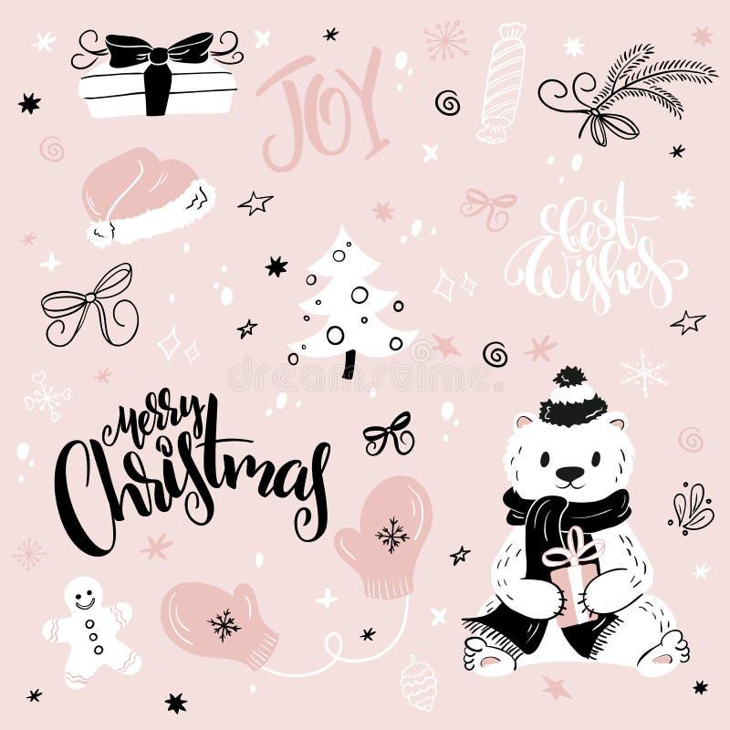 Vektoruppsättningen av jul räcker utdragna dekorativa beståndsdelar och tecken - gåva-, socka-, gran-träd och handbokstäver stock illustrationer